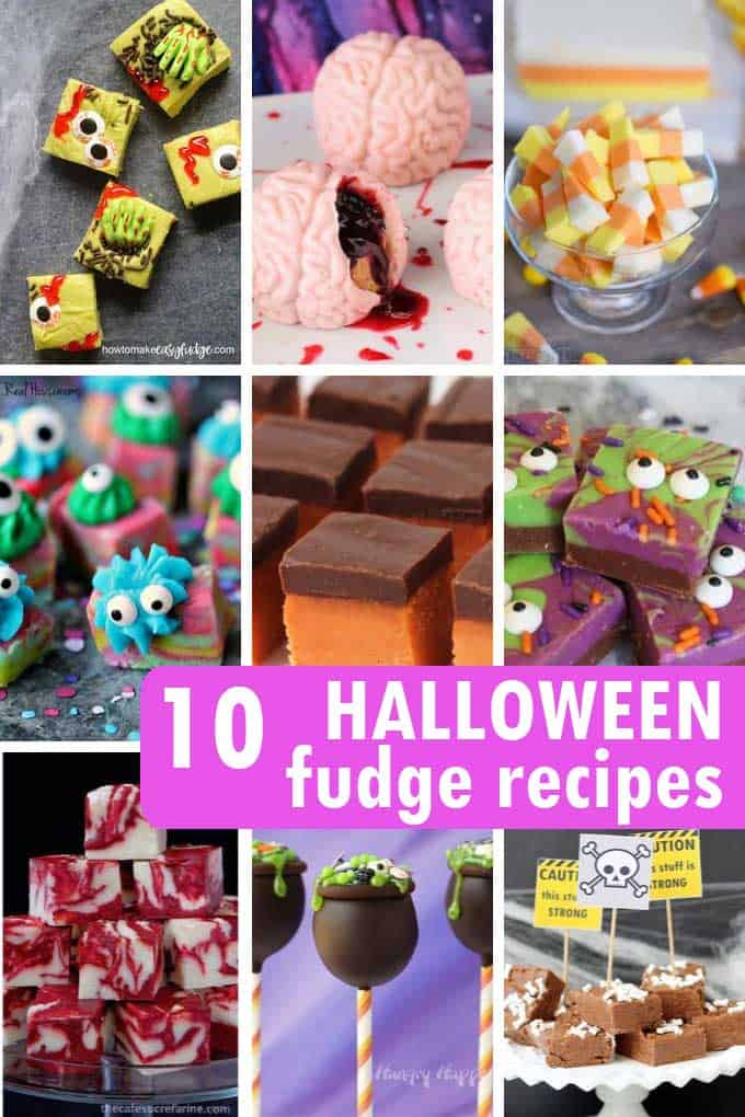 A collage of Halloween fudge recipes