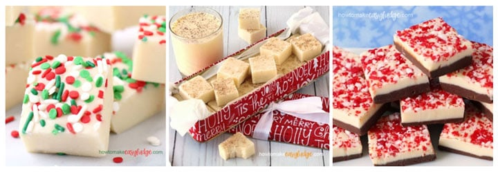 Christmas fudge recipes including Creamy Christmas Fudge, Eggnog Fudge and Peppermint Bark Fudge
