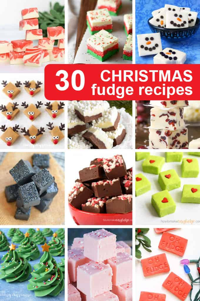 A collage of Christmas fudge recipes