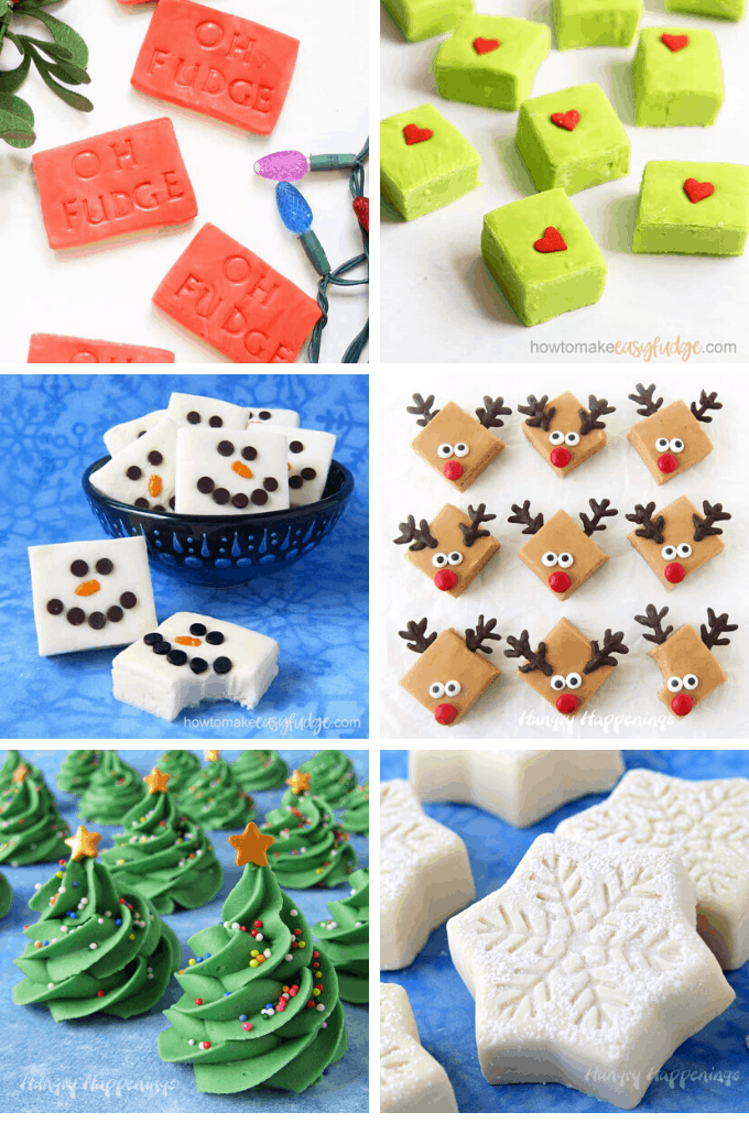 A collage of fun and unique Christmas fudge recipes