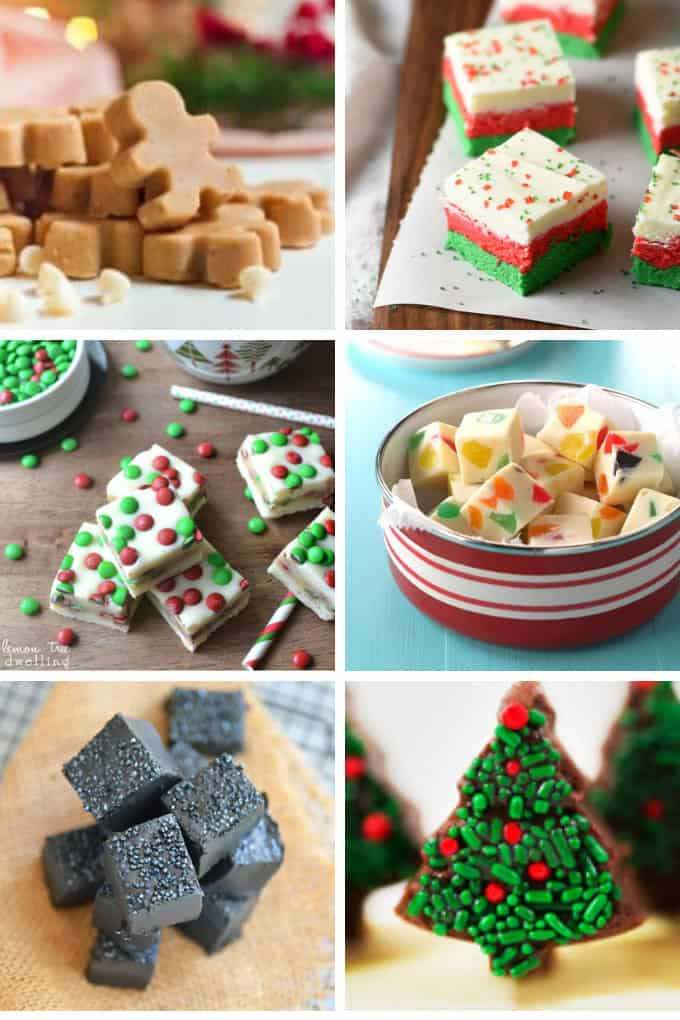 a collage of christmas flavored fudge recipes