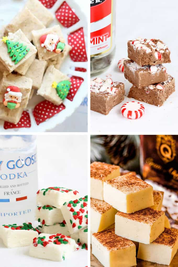 A collage of boozy fudge recipes for Christmas