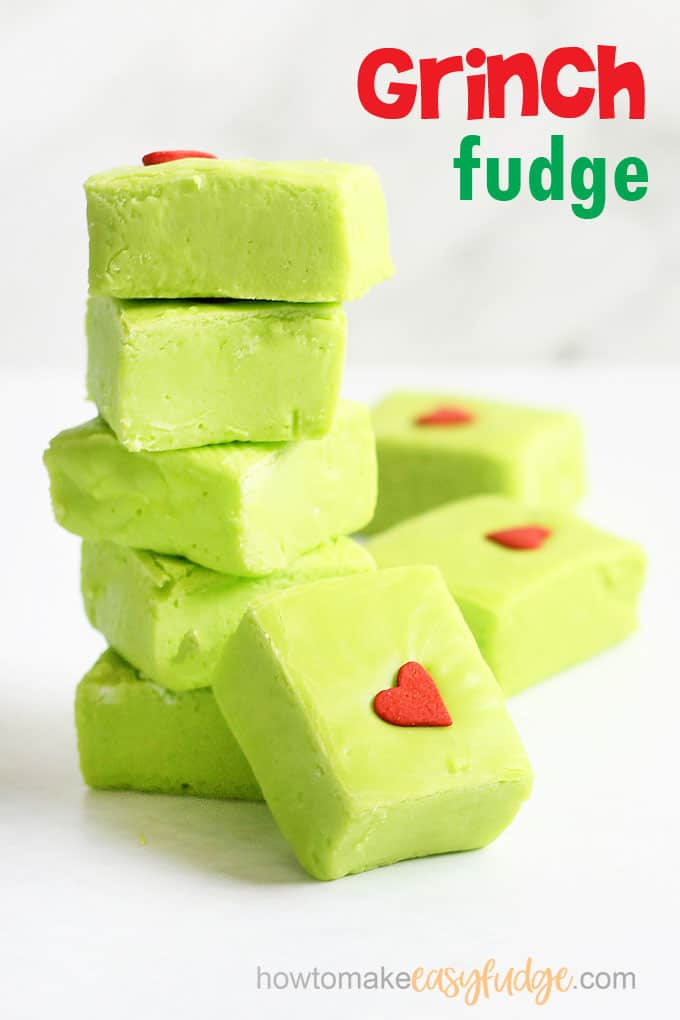 stack of green Grinch fudge for a fun Christmas dessert
