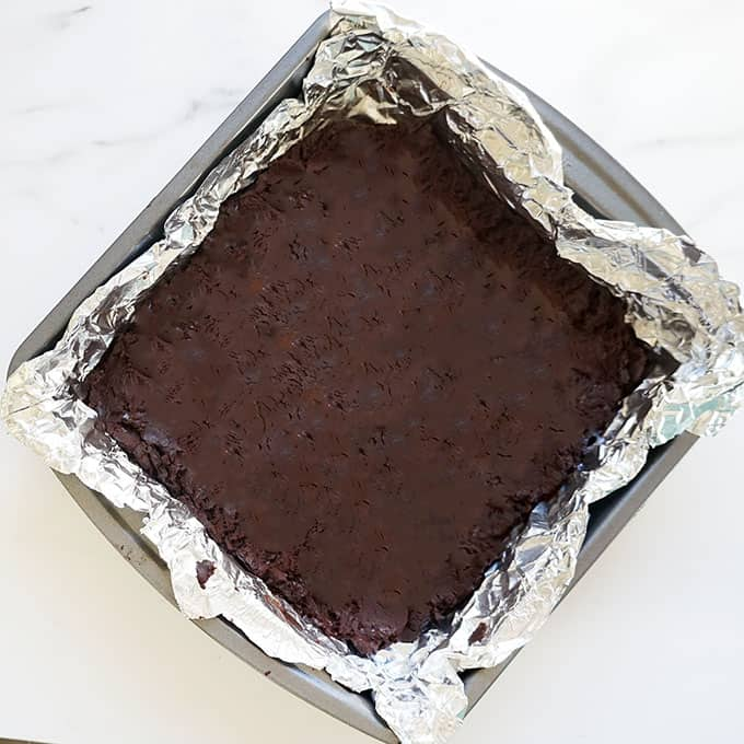 chocolate fudge in a baking pan