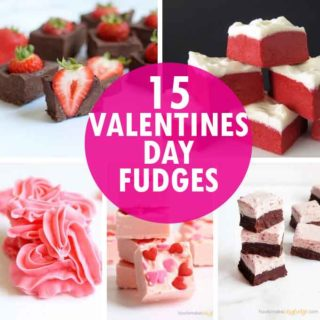 a collage of Valentine's Day fudge recipes