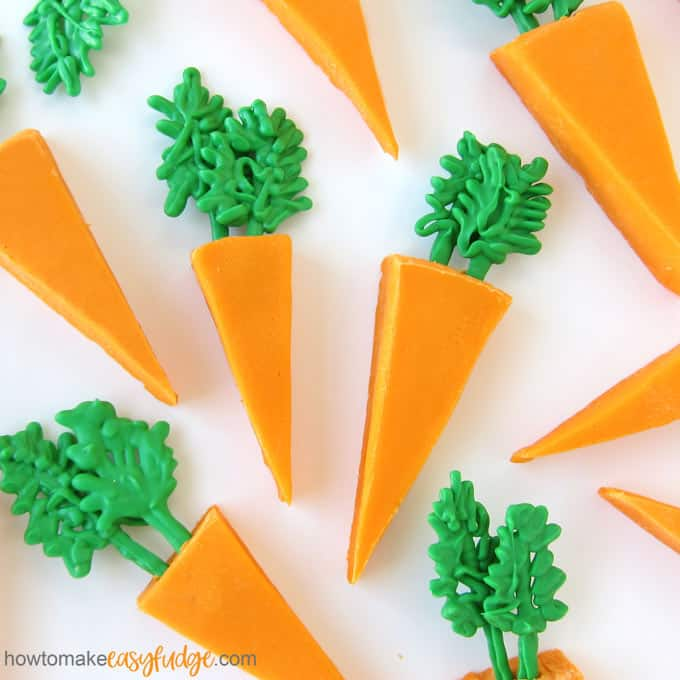 Turn a pan of easy orange fudge into cute carrots for Easter dessert.