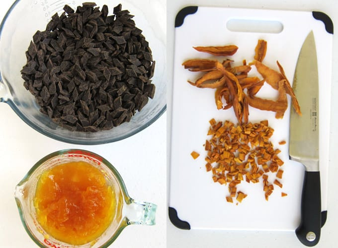 Ingredients for mango fudge including finely chopped chocolate, mango spread, and chopped dried mangos.