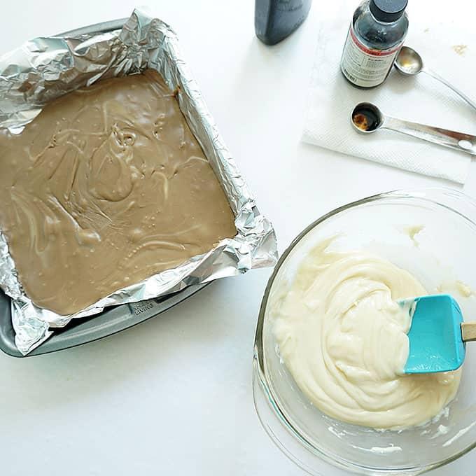 root beer float fudge in baking pan