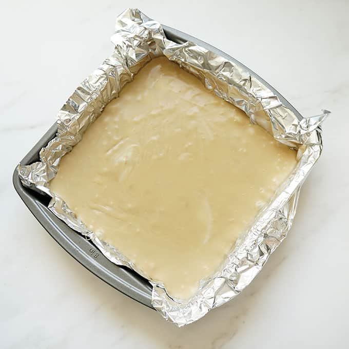 coffee fudge in baking pan