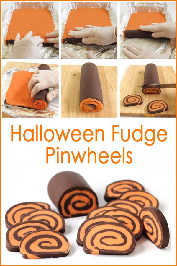 Roll the orange and chocolate fudge into a 9-inch long log then cut into 1/4-inch thick slices to create these Halloween pinwheels.