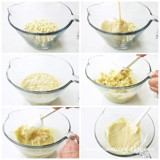 melt white chocolate and sweetened condensed milk then stir them together to create easy white chocolate fudge